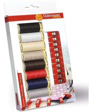 Gütermann 8 špulek univerzálních barev + 10 klipů na látky PRYM
